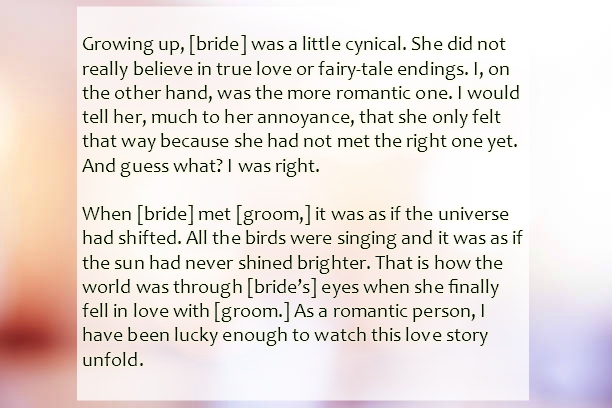 Sister Wedding Speech | Text & Image Speeches | QuoteReel