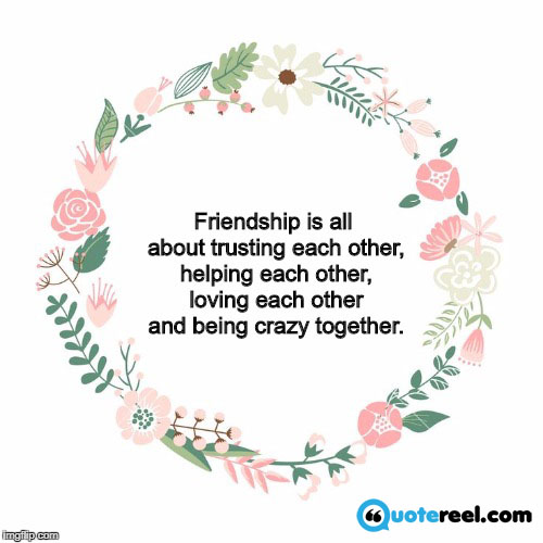11. Friendship is all about trusting each other, helping each other, loving each other and being crazy together