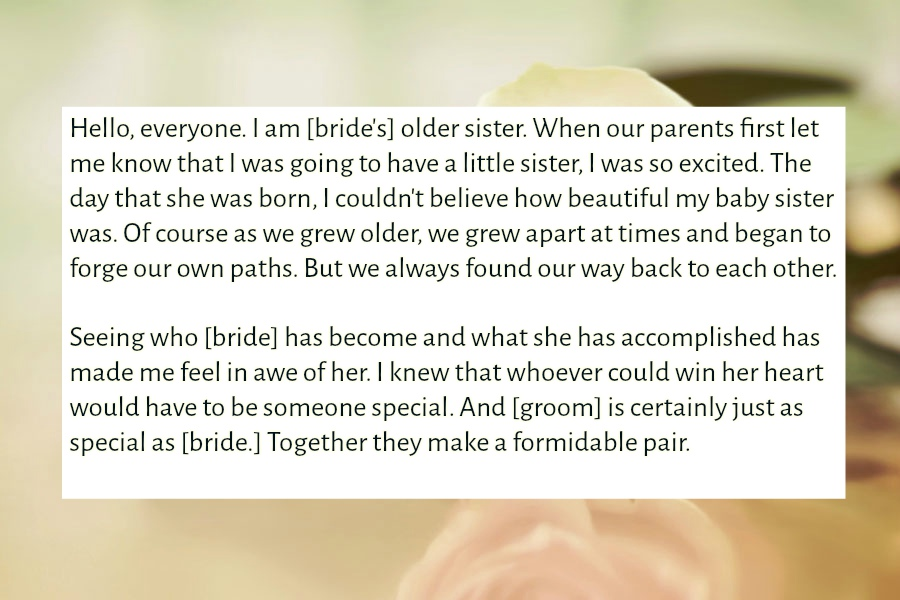 Sister Wedding Speech | Text & Image Speeches | QuoteReel