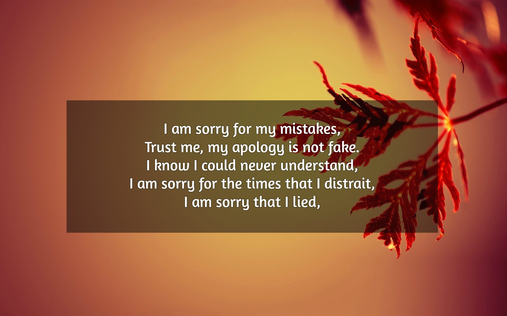 i am sorry for my mistakes