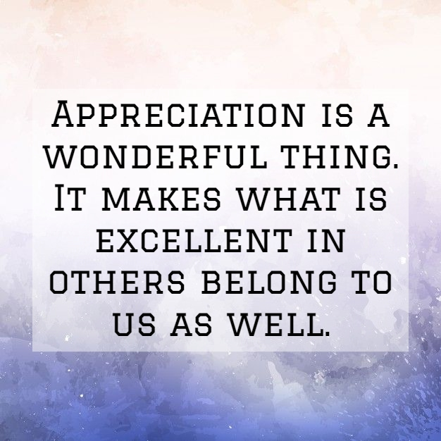 appreciation is a wonderful thing it makes what is excellent in others belong to us as well